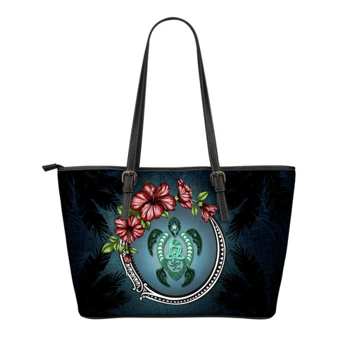 Kanaka Maoli (Hawaiian) Small Leather Tote -  Polynesian Ohana Turtle Hibiscus Mother Son A24