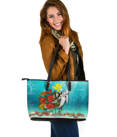 Image of Kanaka Maoli (Hawaiian) Leather Tote - Ocean Turtle Hibiscus | Love The World
