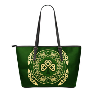 Ireland Small Leather Tote Bag Shamrock and Celtic Corner TH6