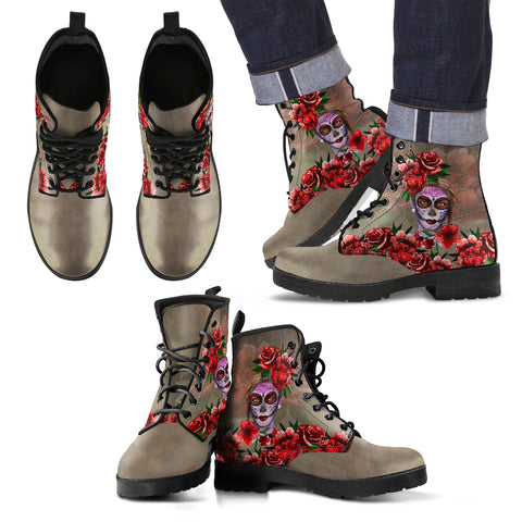 Image of mexico, mexico leather boot, leather boot, catrina leather boot, catrina rose flowers leather boot