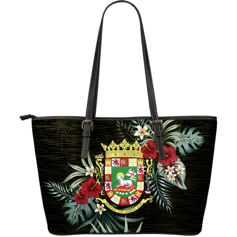 Puerto Rico Hibiscus Large Leather Tote Bag A7