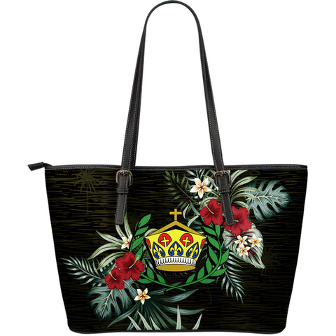 Tonga 2 Hibiscus Large Leather Tote Bag A7