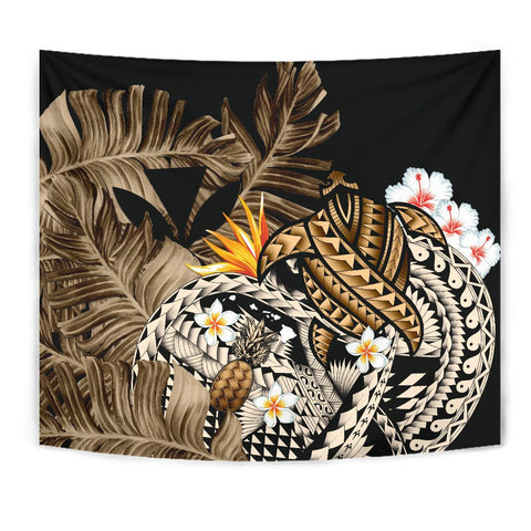 Image of Kanaka Maoli (Hawaiian) Tapestry, Polynesian Pineapple Banana Leaves Turtle Tattoo Gold