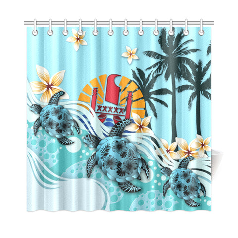 Tahiti Shower Curtain - Blue Turtle Hibiscus A24