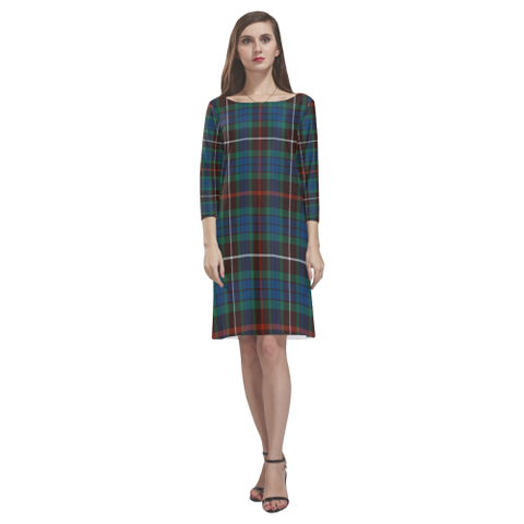 Fraser Hunting Ancient Tartan Dress - Rhea Loose Round Neck Dress NN5