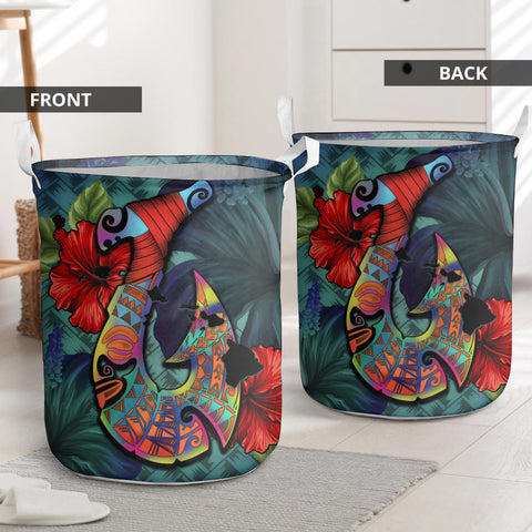 Kanaka Maoli (Hawaiian) Laundry Basket - Fish Hook Hibiscus | Love The World