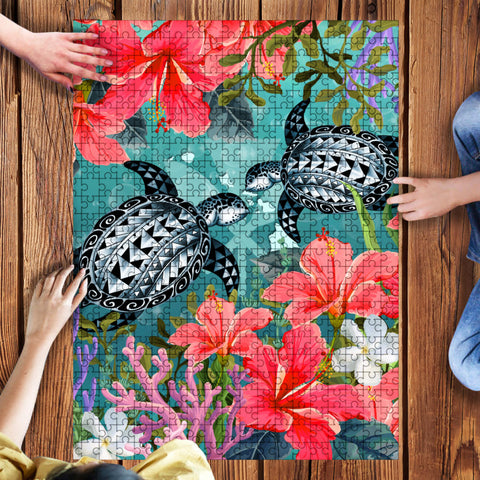 Kanaka Maoli (Hawaiian) Wood Puzzle - Polynesian Turtle Hibiscus And Plumeria | Love The World