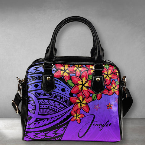 Image of (Custom) Polynesian Plumeria Purple Shoulder Handbag Personal Signature A24