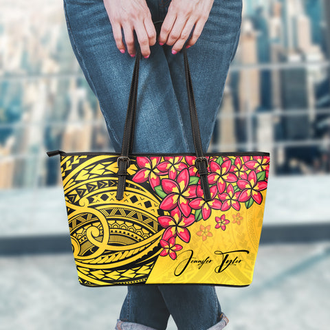 (Custom) Polynesian Leather Tote - Polynersian Plumeria Yellow Personal Signature A24