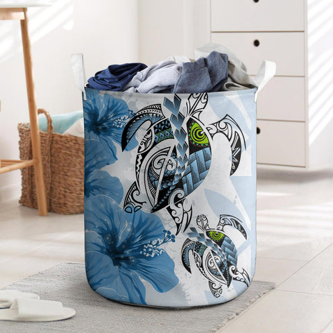 Kanaka Maoli (Hawaiian) Laundry Basket - Polynesia Turtle Hibiscus Blue | Love The World