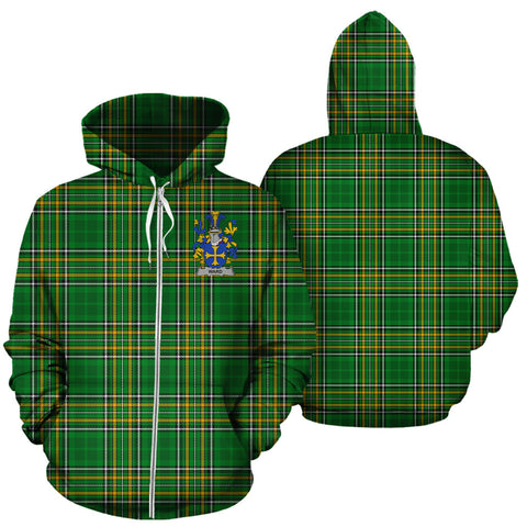 Ward Ireland Zip Hoodie Irish National Tartan - New A7