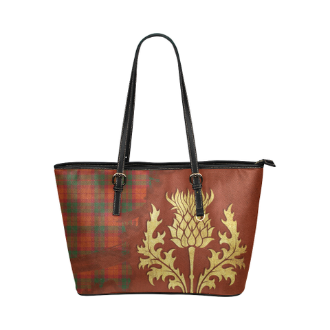 Macnab Ancient Tartan - Thistle Royal Leather Tote Bag