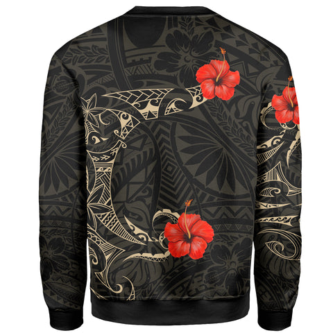 Image of Polynesian Hibiscus Sweatshirt Tattoo Style A7