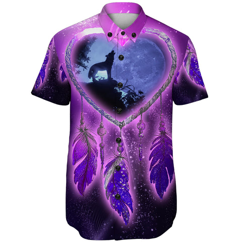 Native American Wolf Violet 3D Short Sleeve Shirt A7