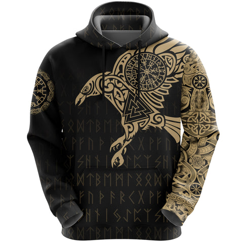 Vikings - The Raven Of Odin Tattoo Hoodie Gold A7