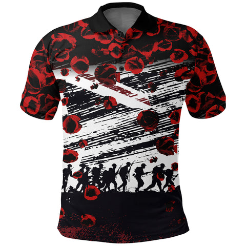 Australia Polo Shirt We Forget Remembrance Day, Poppy - New A7