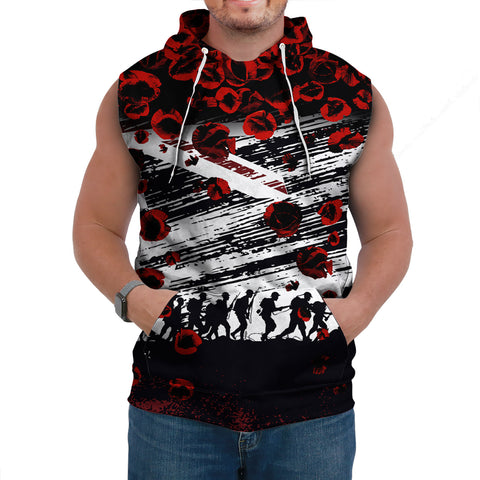 Australia Sleeveless Hoodie Lest We Forget Remembrance Day, Poppy - New A7