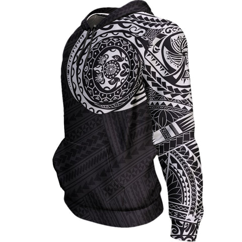 Polynesian Tattoo Style Hoodie Black & White | High Quality Printing