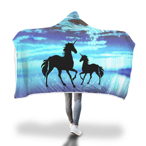 Unicorn Night Sky Scotland Hooded Blanket - Unicorn Hooded Blanket H21