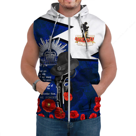 Australia Sleeveless Hoodie Anzac Lest We Forget A7