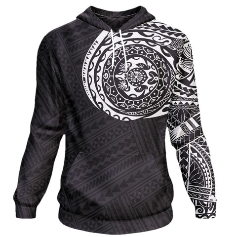 Image of Polynesian Tattoo Style Hoodie Black & White  A7