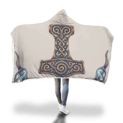 Viking Hooded Blanket - Viking Hammer Hooded Blanket H7