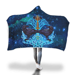 Viking Hooded Blanket - Viking Crow And Key Hooded Blanket H7