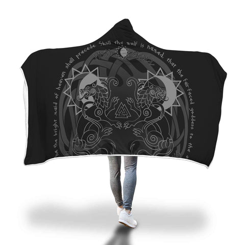 Viking Hooded Blanket - Viking Hati And Skoll Hooded Blanket J7 | Love The World