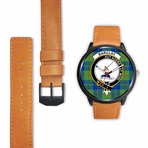 Image of Barclay Hunting Ancient Clan Badge Tartan Leather/Steel Watch - BN