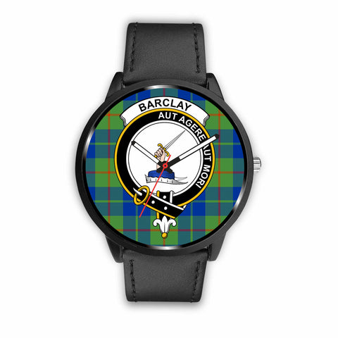 Barclay Hunting Ancient Clan Badge Tartan Leather/Steel Watch - BN