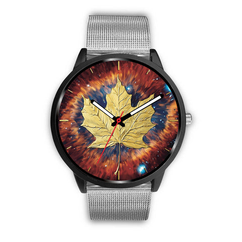 canada watch, canada leather steel watch, maple leaf watch, canada flag, canada symbol, silver watch