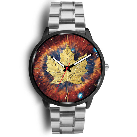 canada watch, canada leather steel watch, maple leaf watch, canada flag, canada symbol, silver metal watch