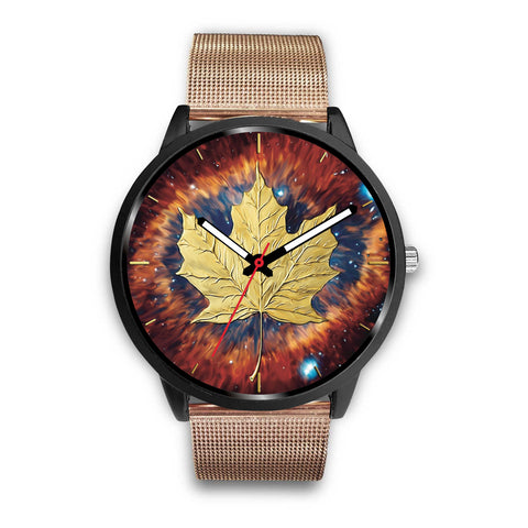 canada watch, canada leather steel watch, maple leaf watch, canada flag, canada symbol, rose gold metal watch