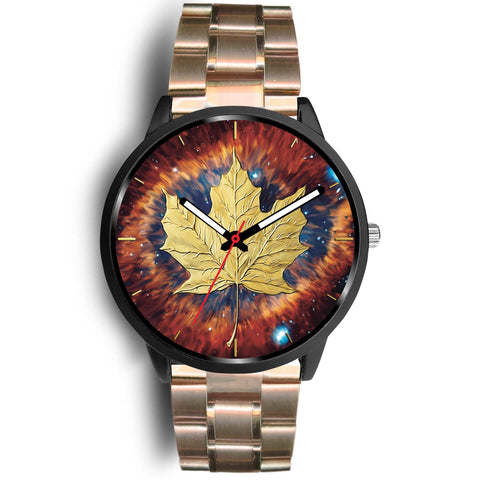 canada watch, canada leather steel watch, maple leaf watch, canada flag, canada symbol, rose metal mesh watch