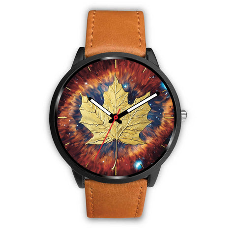 canada watch, canada leather steel watch, maple leaf watch, canada flag, canada symbol