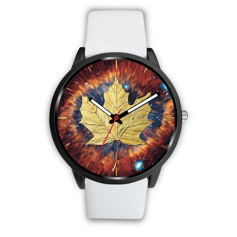 canada watch, canada leather steel watch, maple leaf watch, canada flag, canada symbol, white watch