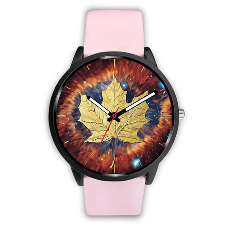 canada watch, canada leather steel watch, maple leaf watch, canada flag, canada symbol, pink watch
