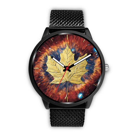 canada watch, canada leather steel watch, maple leaf watch, canada flag, canada symbol, black watch