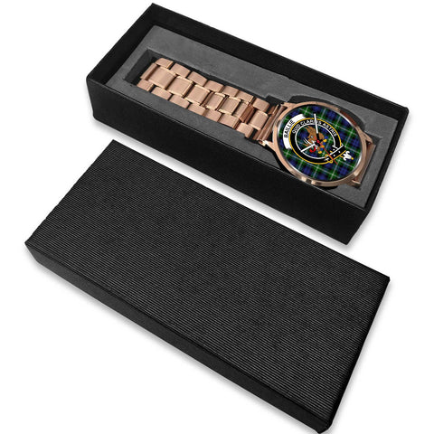 Image of Baillie Modern Clan Badge Tartan Leather/Steel Watch - Rose Gold - BN04