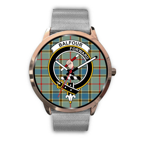 Balfour Blue Clan Badge Tartan Leather/Steel Watch - Rose Gold - BN04