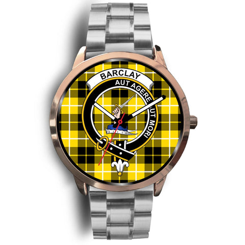 Barclay Dress Modern Clan Badge Tartan Leather/Steel Watch - Rose Gold - BN04