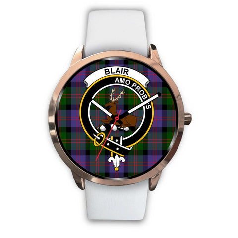 Blair Modern Clan Badge Tartan Leather/Steel Watch - Rose Gold - BN04
