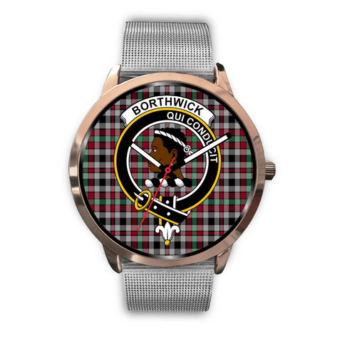 Borthwick Ancient Clan Badge Tartan Leather/Steel Watch - Rose Gold - BN04