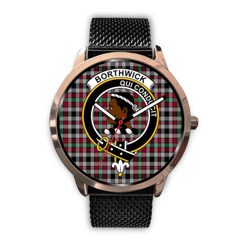 Image of Borthwick Ancient Clan Badge Tartan Leather/Steel Watch - Rose Gold - BN04