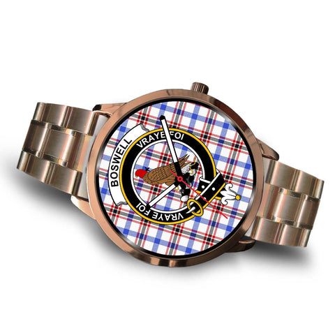 Boswell Modern Clan Badge Tartan Leather/Steel Watch - Rose Gold - BN04
