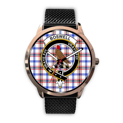 Image of Boswell Modern Clan Badge Tartan Leather/Steel Watch - Rose Gold - BN04