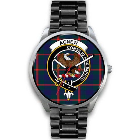 Image of Agnew Modern Clan Badge Tartan Leather/Steel Watch - Silver - Bn08