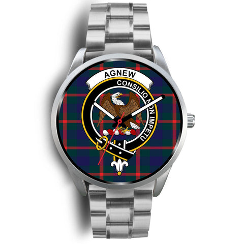 Image of Agnew Modern Clan Badge Tartan Leather/Steel Watch - Silver