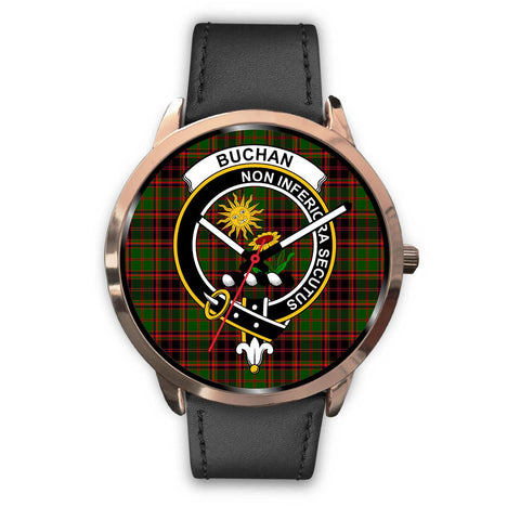 Buchan Modern Clan Badge Tartan Leather/Steel Watch - Rose Gold - BN04