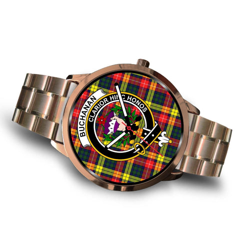 Buchanan Modern Clan Badge Tartan Leather/Steel Watch - Rose Gold - BN04